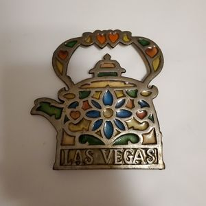 Vintage Las Vegas Teapot Trivet Stained Glass